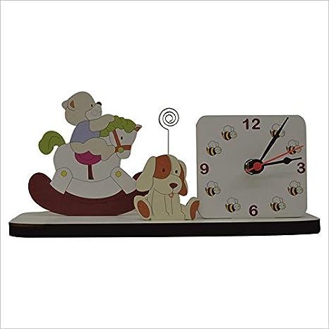 Fabula Linea blandos osos - Reloj de mesa con espiral de fotos de madera 30 x 13 x 9 cm - COD. 1411 - Color Blanco: Amazon.es: Bebé