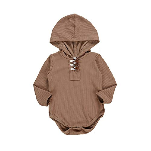 HAPPYMA Newborn Baby Boys Girls Fall Clothing Solid Long Sleeve Splice Sweatshirt Romper for Infant Hooded Onesie (Brown, 0-6 Months) (Hooded Baby Jumper)