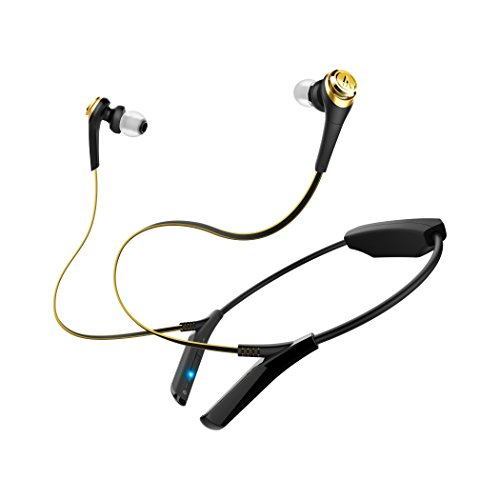 Audio-Technica ATH-CKS550BTBGD Solid Bass Wireless In-Ear Headphones with Mic & Control, Black-Gold by Audio-Technica