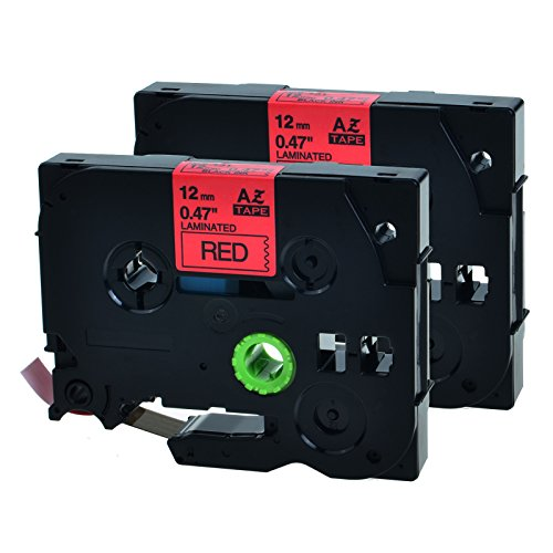 GREENCYCLE 2 PK Black on Red TZ 431 TZe431 12mm Label Tape Compatible with Brother P-Touch Printer