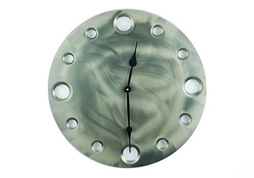 Matte Steel, Large Circular Metal Powder Coated Wall Clock, Sleek, Industrial, Modern, and Unique, Silent (non-ticking)