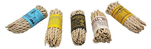 Incense Bundle Fair Trade Nepali/Tibetan 5X Rope Incense (Himalayan Cedar, Three Mixed, Sandalwood, Juniper, Spikenard) - For religious offering, meditation, prayers, purification, relaxation