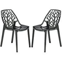 LeisureMod Modern Cornelia Dining Chair, Transparent Black, Set of 2