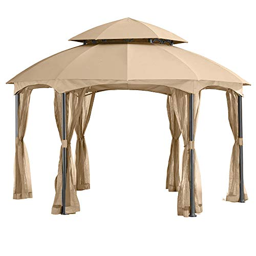 Heritage Canopy Color - Garden Winds LCM1396B-RS Heritage Hexagon Gazebo Riplock 350 Replacement Canopy, Beige