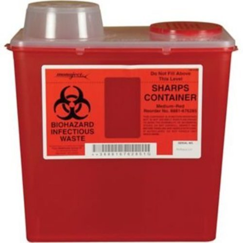 (8881676285) Monoject Multi-purpose Sharps Containers, 8 Quart, Red Base, Chimney Top - 1/Case of 20 by COVIDIEN by COVIDIEN