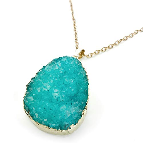 Druzy Charm Necklace for Women: Statement Stone Pendant Link Chain - Marble Pendant Aqua