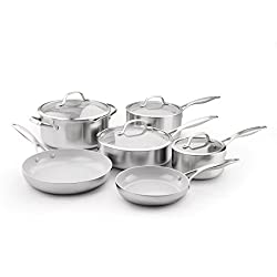 Greenpan Cc000018 001 Stainless Steel Venice Pro Ceramic Non Stick 10pc Cookware Set 10 Piece Light Grey