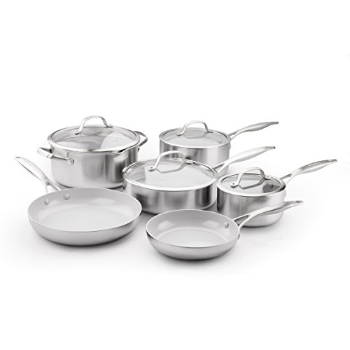 GreenPan CC000018-001 Stainless Steel Venice Pro Ceramic Non-Stick 10Pc Cookware Set, Light - Ceramic Stainless
