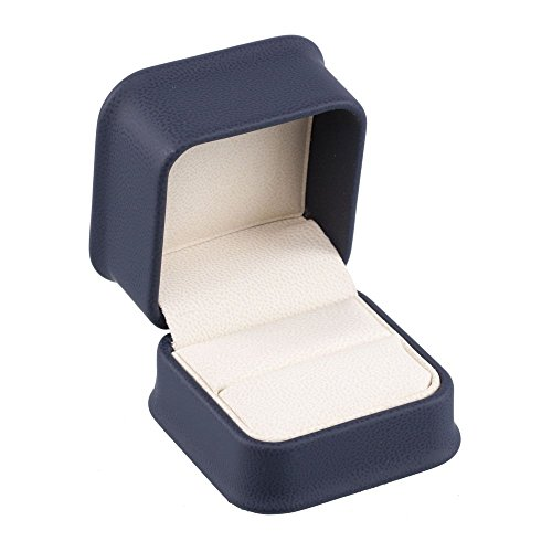 (Navy Blue Leatherette Jewelry Ring Box w/Off White Interior)
