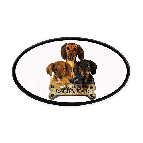Oval Hitch Cover Dachshund Trio with Bone Name Plate