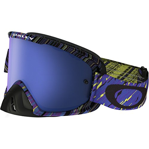 Oakley O2 MX Rain Of Terror Men's Dirt MotoX Motorcycle Goggles Eyewear - Blue Purple/Black Ice+Clear/One Size Fits - Strap Oakley Goggles