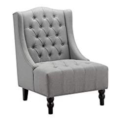 Farmhouse Accent Chairs Ball & Cast Wingback Tufted Accent Chair, Tall, Grey farmhouse accent chairs