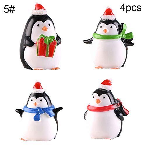gainvictorlf Christmas Ornaments, Mini Scarf Penguin Figurine Keychain Pendant DIY Fairy Garden Table Ornament - 4Pcs Full Sets (Diy Christmas Before Nightmare Ornaments)