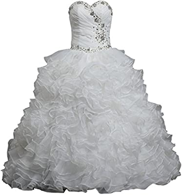 ANTS Women's Crystal Ruffle Organza Ball Gown Wedding Dresses