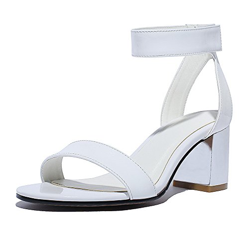 AllhqFashion Womens Patent Leather Hook-and-loop Open Toe Kitten-Heels Solid Sandals White jO4rYdv