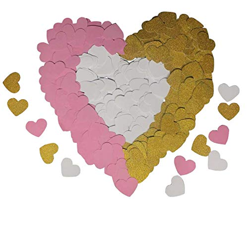 - 300 PCS Heart Paper Confetti Seasonsky Gold Pink and White Heart Confetti Table Scatter Paper Confetti for Bachelorette Decorations, Baby Shower, Wedding Party Supplies (Gold, Pink and White, Heart)