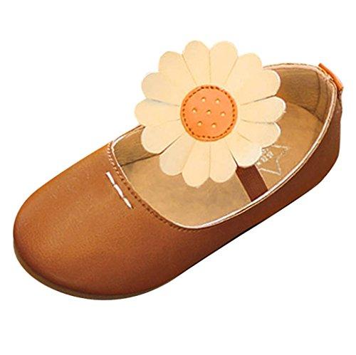Jamicy® Kinder Baby Mädchen Mode Kunstleder Prinzessin Flower Dance Nubukleder Casual Single Schuhe EU 21 22 23 24 Braun