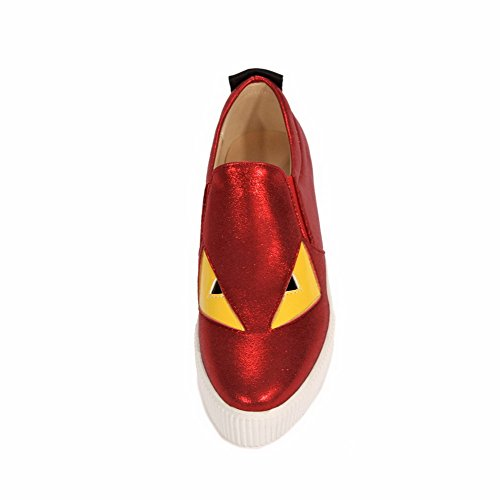 Allhqfashion Dames Cartoon Patroon Mix Materialen Lage Hakken Pumps-schoenen Rood