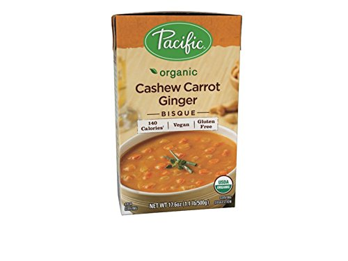 Pacific Foods Organic Cashew Carrot Ginger Bisque, 17.6-Ounce Cartons, 12-Pack