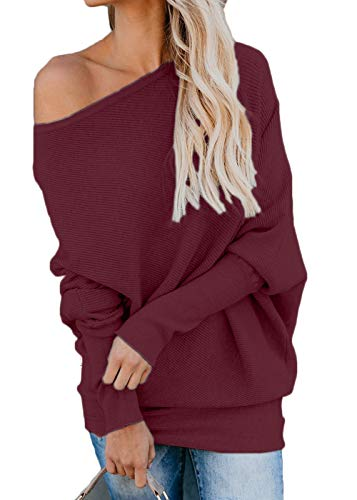 ng Sleeve Knit Tops Off Shouler Casual Baggy Pullover Sweater Blouse M ()