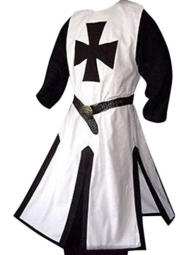 LETSQK Medieval Crusader Templar Knight Warrior Tunic Robe Halloween Costume White L