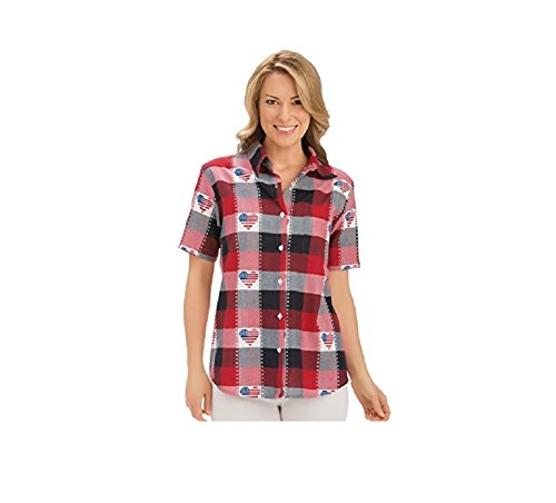 Women's Classic Americana Button Down Plaid Shirt Misses Red/White/Blue X-Large, Red/White/Blue, X-Large, (Over Short Sleeve Camp Shirt)