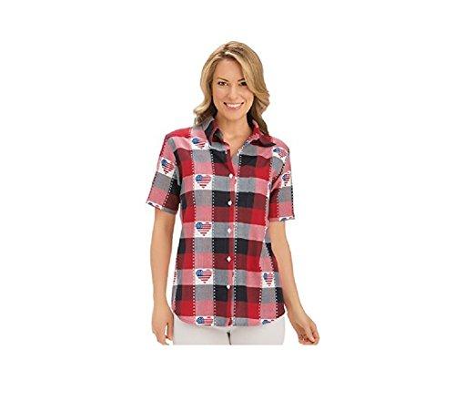 Womens Classic Americana Button Down Plaid Shirt, Red/White/Blue, X-Large Plus, Plus-Size