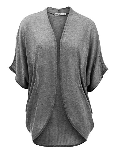 LL WSK1528 Womens Short Sleeve Open-Front Batwing Cardigan - Made in USA XL HDG