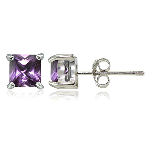 Sterling Silver Simulated Alexandrite 4mm Square Stud Earrings