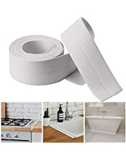 Caulk Strip,PE Waterproof Decorative Sealant Trim for Kitchen, Bathroom, Shower Floor and Wall Edge Protector-(126x1.5 Inches-White)