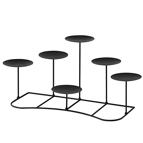 smtyle DIY 6 Mantle Candelabra Flameless or Wax Pillar Candle Holders Stand for Fireplace Accessories with Black Iron Decoration on Desk or Floor