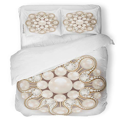 SanChic Duvet Cover Set Charm Mandala Brooch Jewelry Pearl Vintage Ornamental Circle Decorative Bedding Set with 2 Pillow Cases Full/Queen Size