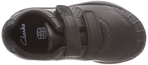 Clarks Jungen Jonas Glo Sneaker Schwarz (Black Leather Black Leather)