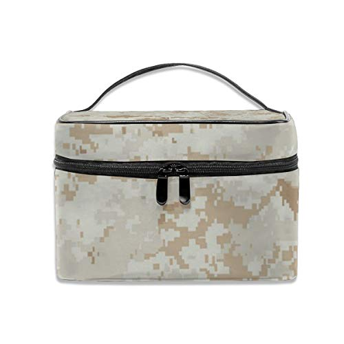 Portable Travel Makeup Cosmetic Bags Marine Marpat Digital Desert Camo Professional Toiletry Bag Organizer, Accessories Case, Tools Case