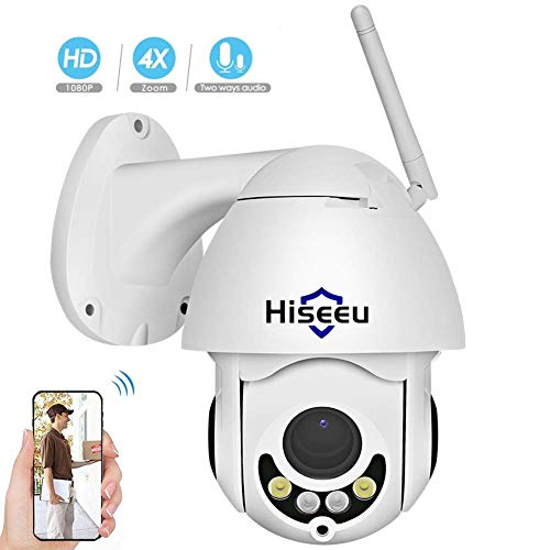 1080P Outdoor Wireless Security Camera Pan Tilt Zoom (4X Optical Zoom),Two  Way Audio,HD WiFi Surveillance Camera Waterproof Dome Camera with Night
