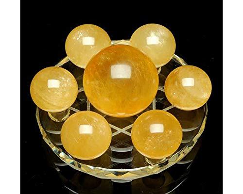 Seven Star Chakra Group Natural Yellow Healing Quartz Crystal Sphere Ball Statue Figurine with Clear Glass Crystal Stand (Yellow Crystal) ()