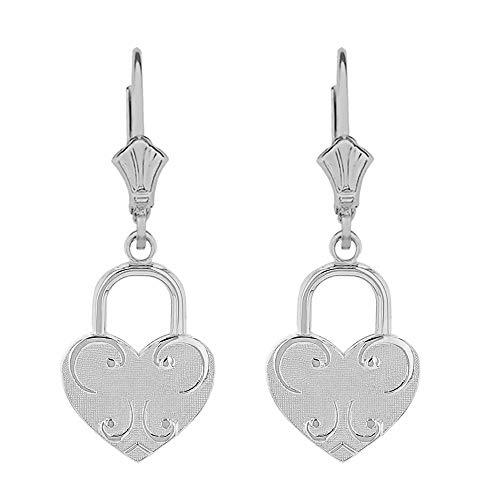 925 Sterling Silver Swirl Love Heart Padlock Dangle Earrings