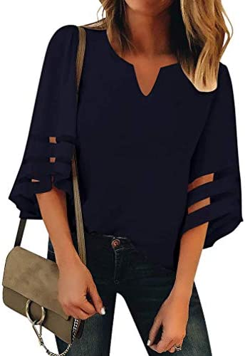 Women's V Neck Mesh Panel Blouse 3/4 Bell Sleeve Loose Top Shirt Chiffon Blouse Tops
