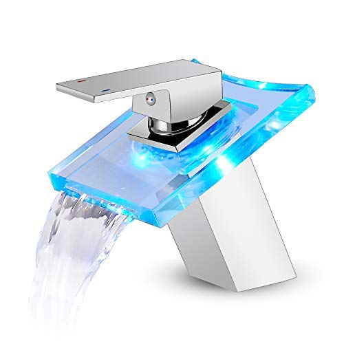 ROVOGO LED Light Bathroom Sink Faucet, 3 Colors Changing Waterfall Glass Spout, Hot and Cold Water Mixer, Single Handle Single Hole Deck Mounted Bathroom Tap Faucet, Chrome
