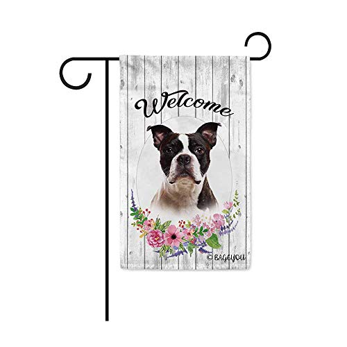 BAGEYOU Welcome Spring Summer Flowers Cute Dog Boston Terrier Decorative Garden Flag Lovely Puppy Floral Seasonal Home Decor Banner for Ourside 12.5X18 Inch Print Double Sided
