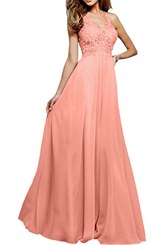 Abendkleider Linie Pfirsisch Charmant Rosa Promkleider Durchsichtig Partykleider Ausschnitt Damen Elegant V A Lang pqqOWYR7P