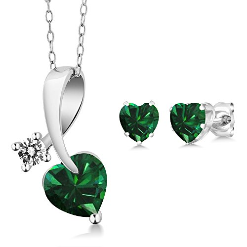 Diamond Antique Earring - Gem Stone King 1.80 Ct Heart Shape Green Simulated Emerald and Diamond 925 Sterling Silver Pendant Earrings Set