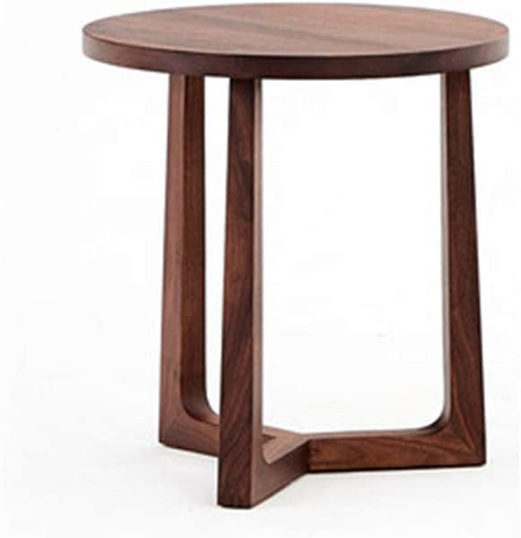 All Solid Wood Round Side Table, Nordic Modern Living Room Small Coffee Table North American Black Walnut Furniture,3 Size Optional (Size : D400xH420mm)