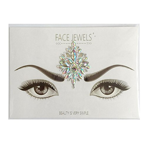 Colorful Bindi, Lotus.flower Long Lasting Waterproof Temporary Rhinestone Gem Face Jewel Stickers Eyes Tattoo Transfer Eyeshadow Face Jewels (B)