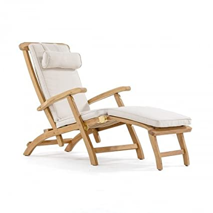 Amazon Com Barbuda Captain Steamer Teak Lounge Chair With Canvas
