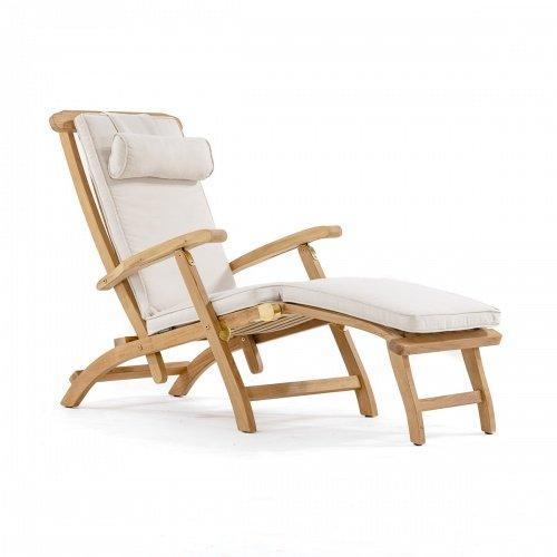 Cheap Barbuda Captain Steamer Teak Lounge Chair with Canvas Color Cushion