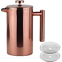 LA JOLIE MUSE French Press Coffee Maker - Double Walled Insulated Stainless Steel Coffee Pot with Copper Finish, 2 Bonus Screen Filters, 34 OZ/8 Cup Cafeteria Gift