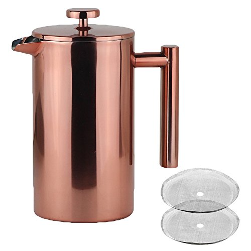 LA JOLIE MUSE French Press Coffee Maker - Double Walled Insulated Stainless Steel Coffee Pot with Copper Finish, 2 Bonus Screen Filters, 34 OZ/8 Cup Cafeteria Gift -