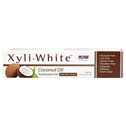 NOW Solutions, XyliwhiteTM Toothpaste Gel, Coconut Oil, Cleanses and Whitens, Cool Coconut-Mint Taste, 6.4-Ounce