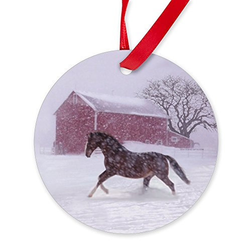 - CafePress Let It Snow! Christmas Tree Horse Barn Ornament Round Christmas Ornament